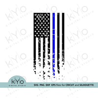 Police officer thin blue line distressed US flag blue lives matter svg-kYoDigitalStudio