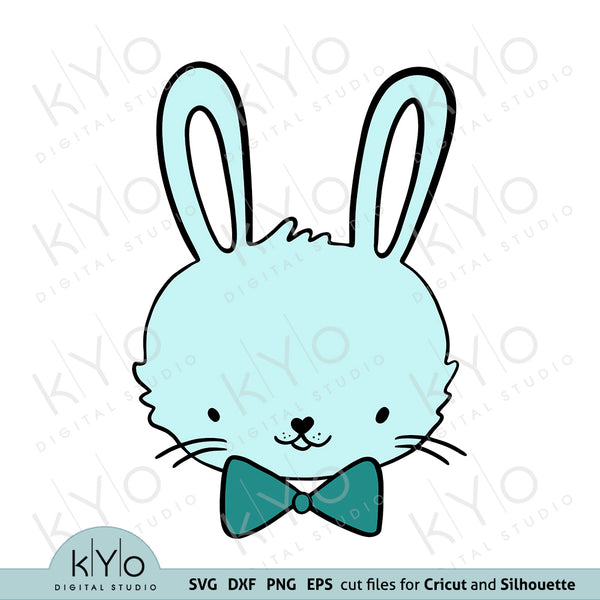 Hand drawn bunny boy face svg png dxf eps cutting files, baby boy easter shirt or onesie design svg cut files for Cricut and Silhouette DIY crafting projects.