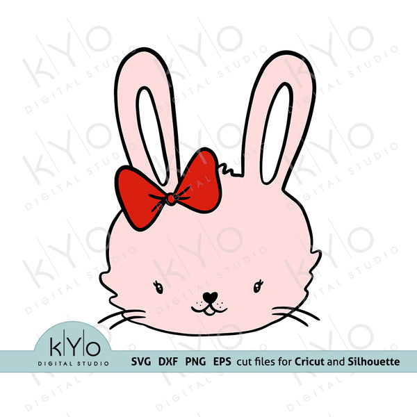 Hand drawn bunny girl face svg png dxf eps cutting files, baby girl easter shirt or onesie design svg cut files for Cricut and Silhouette DIY crafting projects.
