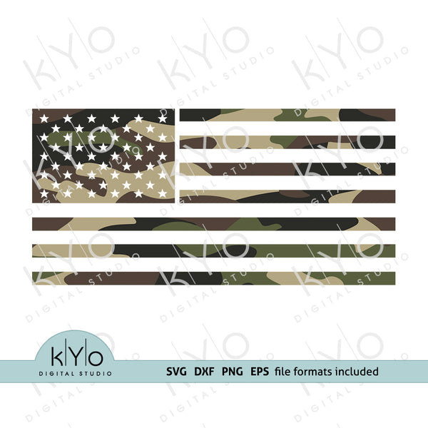 Camouflage Pattern American Flag Svg Png Dxf Eps Cutting Files
