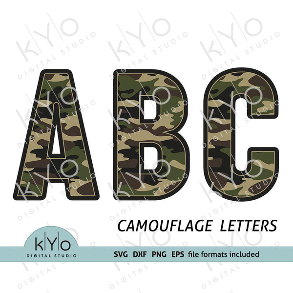 Camouflage Army Military font letters svg png dxf files-kYoDigitalStudio