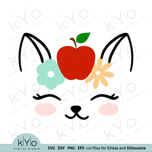 Cat Face with Flowers and Apple Svg Dxf Png Eps Cutting Files kyo digital studio