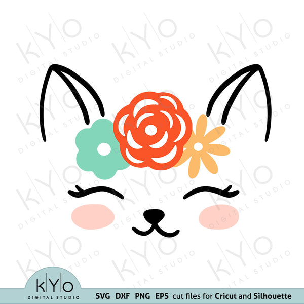 Cat Face with Flower Svg Dxf Png Eps Cutting Files kyo digital studio