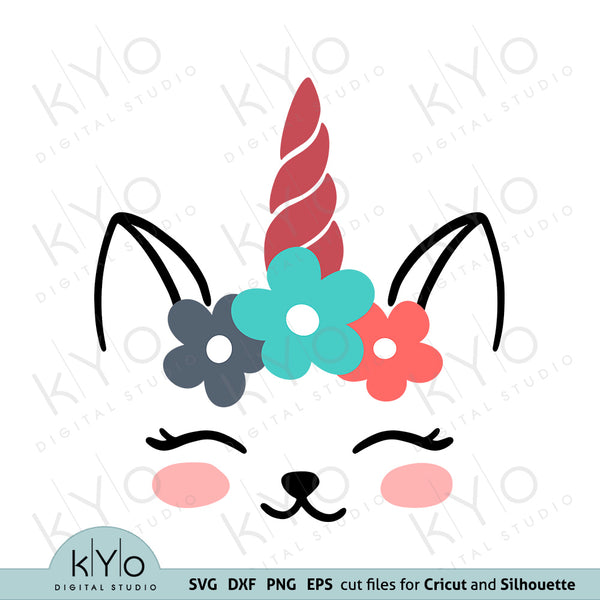 Cat Face Unicorn with Flowers Svg Dxf Png Eps Cutting Files kyo digital studio free images
