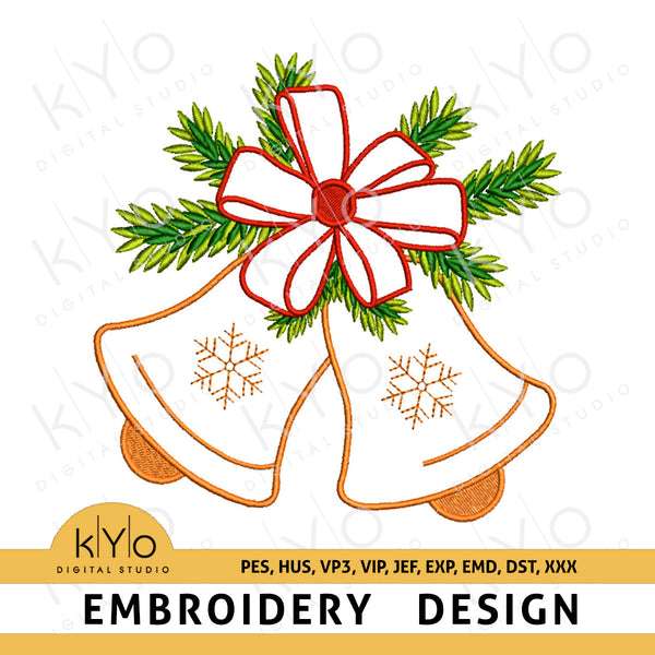 Christmas Jingle Bells Embroidery design pattern pes hus vp3 vip jef exp emd dst file snowflake Christmas jingle bells embroidery designs, Christmas Embroidery Design