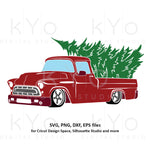 Christmas Truck svg, Merry Christmas svg, Red old truck svg, Vintage Chevy svg, chevy truck svg dxf png files for Cricut Silhouette cut files