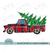 Christmas Plaid Red Old Vintage Truck svg png dxf files-kYoDigitalStudio
