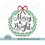 Merry and Bright Christmas Wreath svg png dxf eps files-kYoDigitalStudio
