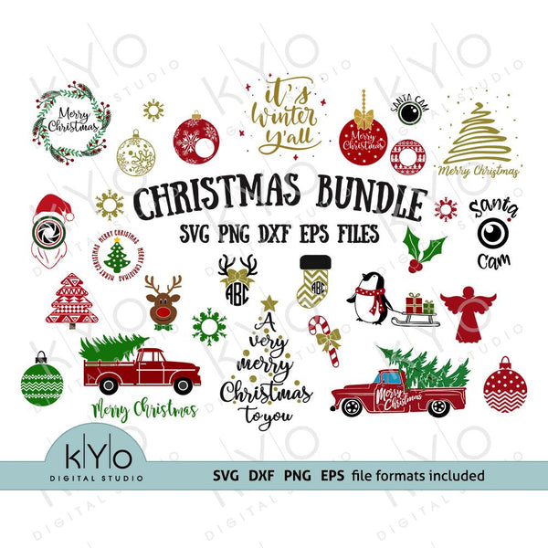 Christmas Svg Png Dxf Cut Files Bundle, chritmas tree truck monogram stockings reindeer elf sant a cam bauble Merry Christmas. Over 150 Designs #kYoDigitalStudio #christmassvgfiles #christmassvgfilesbundle #christmassvgbundle