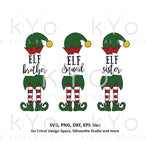 Christmas Elf Squad Sister Brother Svg Cut Files for Cricut and Silhouette