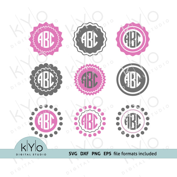 Circle Monogram Frames Bundle SVG PNG DXF EPS files for Cricut, Silhouette, Brother and Sizzix.