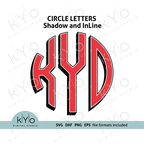 Circle Monogram Font letters with Shadow and Inline svg dxf eps files-kYoDigitalStudio