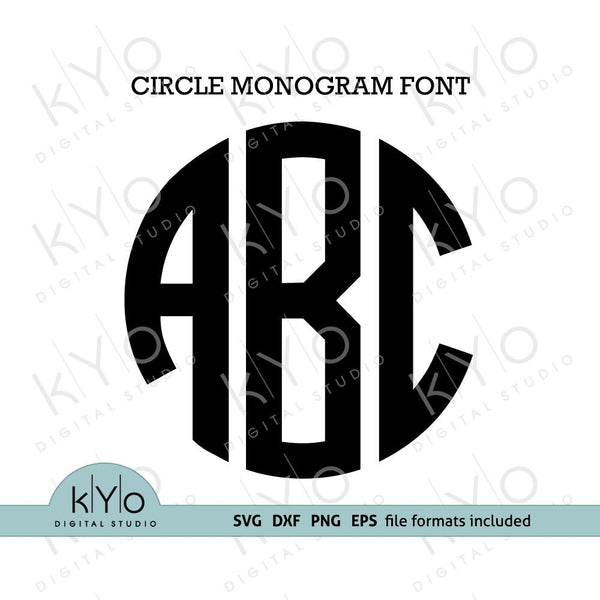 Circle Monogram Font svg cut files for Cricut Design space, Silhouette Studio, Bonus Monogram Frame Included - @kyodigitalstudio.com