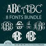 Cricut monogram font bundle svg cut files, Monogram letters svg, Monogram font svg, Cricut fonts svg, Silhouette monogram fonts svg cut files for DIY craft projects