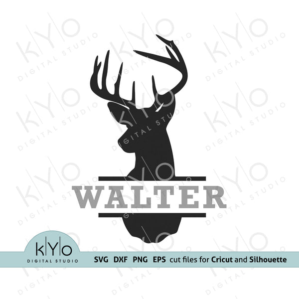 Deer Split Monogram Frame Svg, Deer head svg, Hunter Svg, Deer svg, Hunting svg, Antlers Monogram Svg Png Dxf files for Cricut and Silhouette crafting projects.