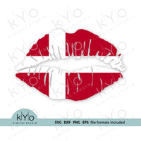 Danish Flag Lips svg, Denmark Flag Lips Svg - kYoDigitalStudio.com