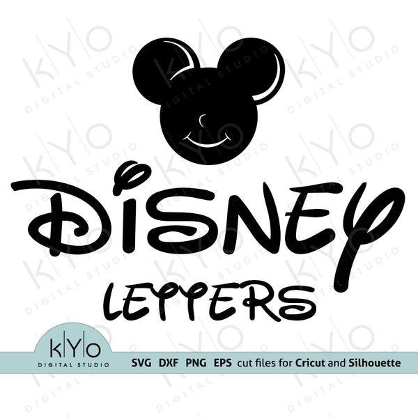 Disney font alphabet letters svg png dxf cutting files for DIY crafts with Cricut  and Silhouette. Mouse Ears silhouette from main image included kyo digital studio