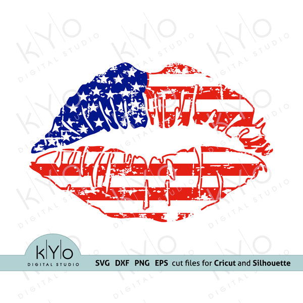 Distressed 4th of July American Flag Lips Svg