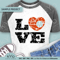 Distressed Basketball Love Heart Monogram Svg Cut Files