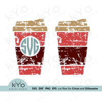 Distressed Coffee Cup Monogram Frame Svg