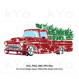 Distressed Christmas Truck svg, Merry Christmas svg, Grunge Red old truck svg, Vintage chevy truck svg dxf png files for Cricut Silhouette cut files
