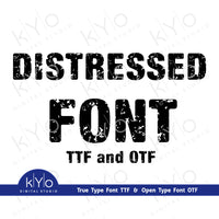 Distressed Font TTF and OTF formats for Cricut and Silhouette, Grunge Font TTF by kYoDigitalStudio