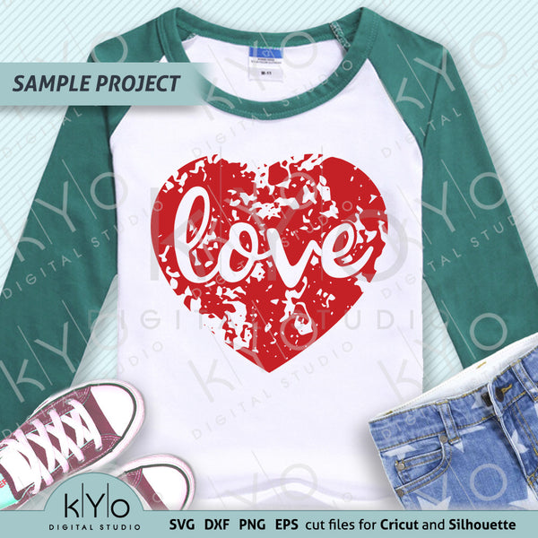 Distressed Heart with Love lettering svg cut files by kYo Digital Studio