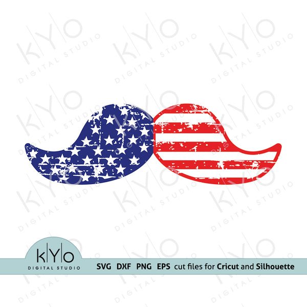 Distressed American Mustache svg, 4th of July shirt design svg, US Flag pattern Moustach, Stars and Stripes svg png dxf files for Cricut and Silhouette Independence day, Fathers day mens t shirt design