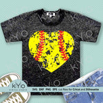 Distressed Softball Heart Svg Cut files by kyo digital studio