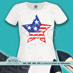 Distressed 4th of July US Flag Star Cutting and Printing files