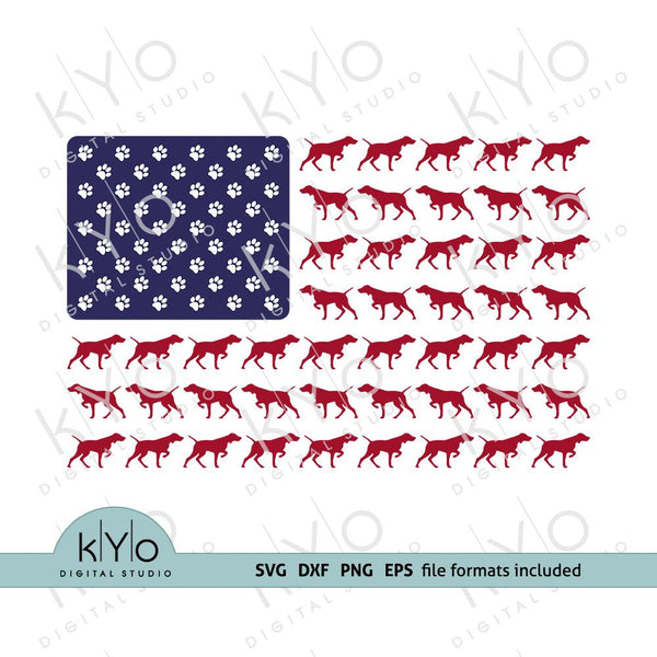 Vizsla dog silhouette svg - American Vet US flag with dog paws svg files for Cricut Silhouette Sizzix-kYoDigitalStudio