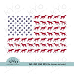 Vizsla dog silhouette American US flag svg, dog paws svg files for Cricut Silhouette Sizzix-kYoDigitalStudio