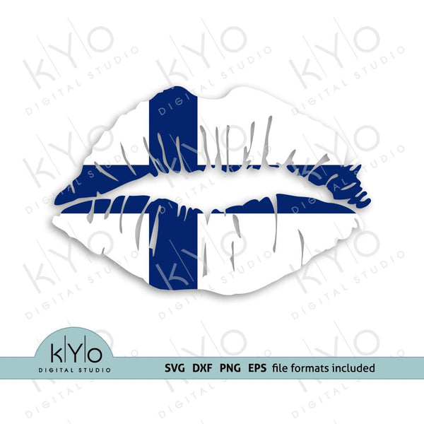Finland flag girl lips shirt design svg png dxf files-kYoDigitalStudio