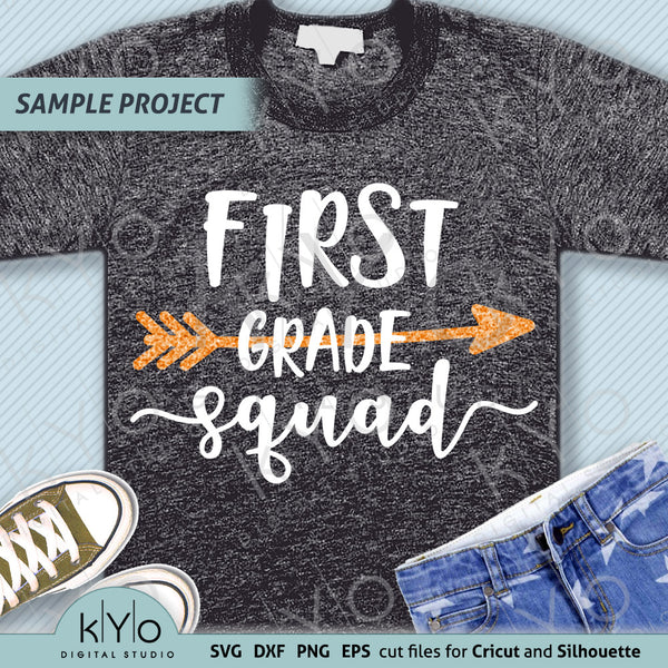 First grade squad svg png dxf eps files, 1st grade shirt svg, Back to school svg, Squad shirt svg for Cricut Design space and  Silhouette diy shirt making.