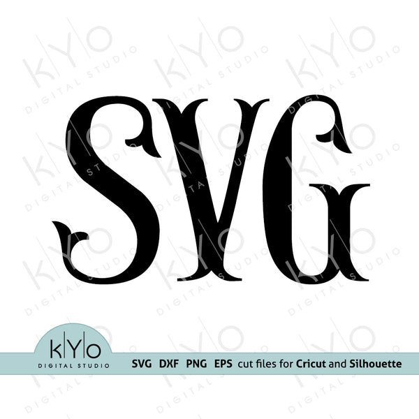 Fishtail Monogram font svg cut files, Fishtail alphabet letters svg, Royal font svg files for Cricut Explore Maker, Silhouette Cameo font