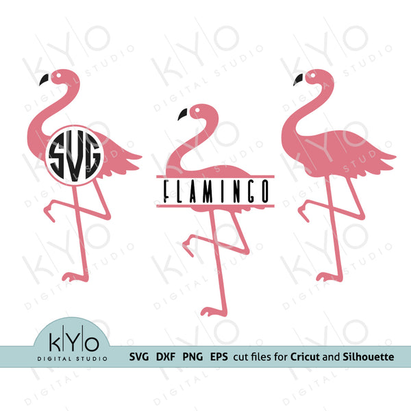 Flamingo svg, Flamingo Monogram svg, Split Flamingo SVG files for Cricut, Flamingo Png, Flamingo Dxf, Commercial use svg's, Cricut and Silhouette designs, kyodigitalstudio
