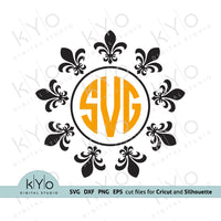 Fleur De Lis Circle Monogram Frame Svg Cut Files