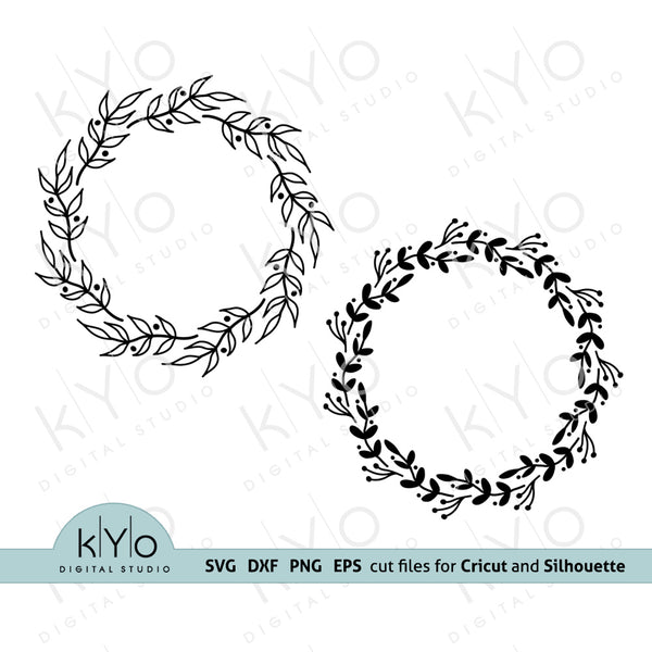 Floral Wreath Monogram Svg Cut Files