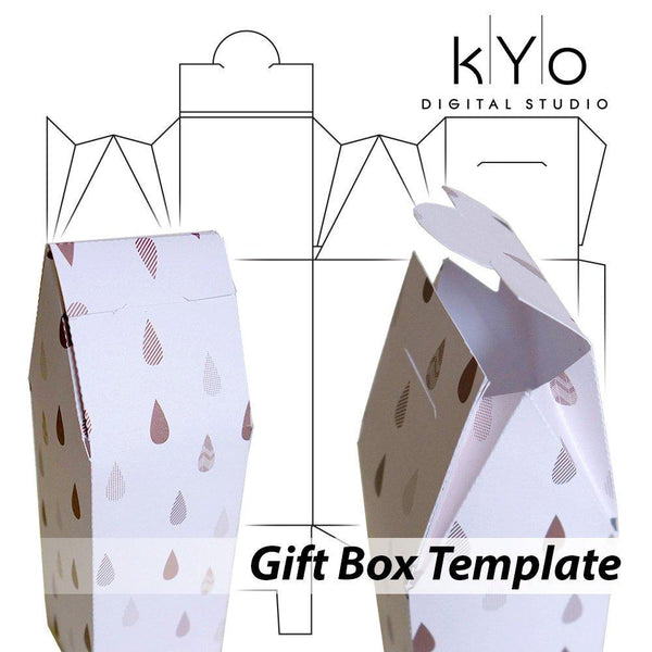 Gift Box Template in SVG DXF EPS pdf file format, Packaging Template files, Heart Wedding Birthday Anniversary Tall gift box-kYoDigitalStudio
