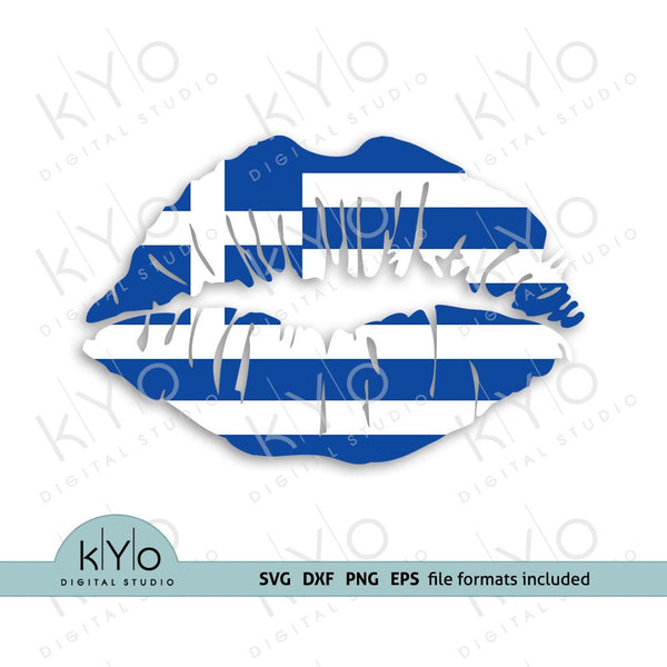 Greece (Greek) flag girl lips shirt design svg png dxf files-kYoDigitalStudio