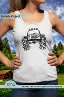 Hand Drawn Jeep silhouette svg, jeep cartoon clipart