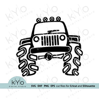 Hand Drawn Jeep svg, Off Road svg, Big Truck svg, Jeep Clipart, Jeep silhouette svg cut files for Cricut Explore and Silhouette Cameo