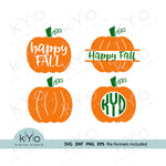 Happy Fall svg Pumpkin svg Pumpkin Monogram svg Fall Autumn Harvest Halloween svg files for Cricut Silhouette png dxf eps iron on htv design
