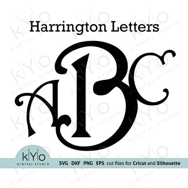 Harrington monogram font letters svg png dxf eps cut files