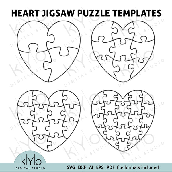 Heart Shape Jigsaw Puzzle Templates AI EPS SVG PDF and DXF file formats. Scalable Jigsaw puzzle templates, Printable Jigsaw puzzle template.