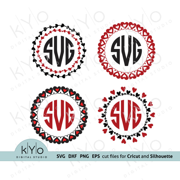 Heart Monogram Frames Svg, Valentines Day Monogram Svg Bundle, Heart monogram svg, Love svg, Wedding Monogram Svg, Heart Monogram Bundle, Svg for Cricut and Silhouette files