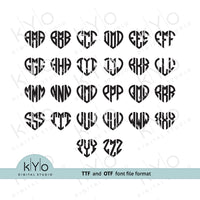 Installable Heart Monogram Font in TTF and OTF formats for Cricut Design Space, Silhouette Studio, Adobe Illustrator, Adobe Photoshop, Corel Draw etc.