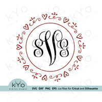 Heart Wreath Svg, Valentines Day Svg files, Hand drawn heart frame svg, Love svg, Wedding monogram frame svg cut files for Cricut and Silhouette