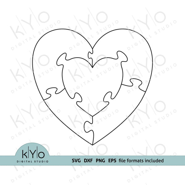 Heart in Heart Jigsaw Puzzle Templates AI EPS DXF SVG png files-kYoDigitalStudio