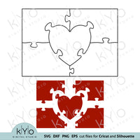 Heart in Rectangle Jigsaw Puzzle Templates Svg